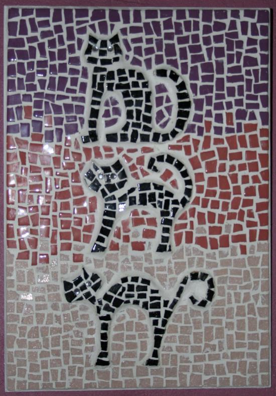 trois petits chats l'atelier de samantha création mosaique mosaique un