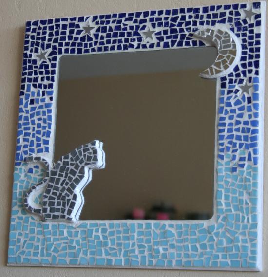 chat au clair de lune mosaique de chat miroir en mosaique réalisé avec