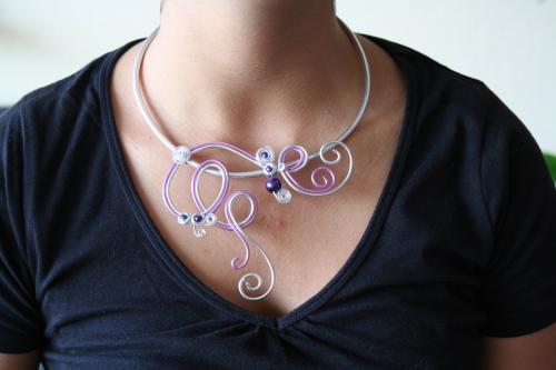 Collier en fil d aluminium l atelier de samantha creation bijoux mariee 3