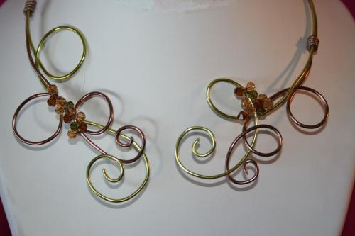 Collier fil alu 2 fils perle cristal l atelier de samantha creation unique 1