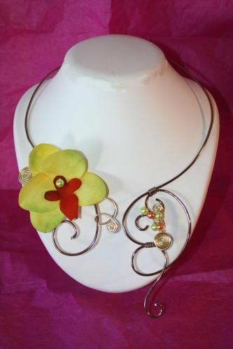 Collier fil alu bijoux mariee bijoux mariee filalu bijoux fantaisie collier orchidee mariee collier orchidee 1
