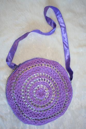 sac rond en capsules de canette canette recyclée, l'atelier de samantha, sac en capsule de canette, sac recyclé, tendance sac recyclé, création sac à main artisanale