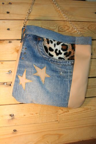 Sac a main jeans recycle sac bandouliere sac tendance sac creation sac a main leopard sac a main jeans etoile sac a main etoile 1